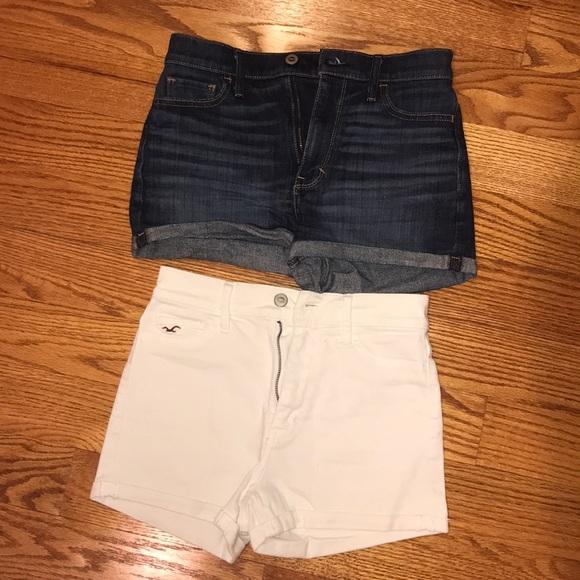 Hollister Pants - 2 high waisted hollister shorts - denim & white!
